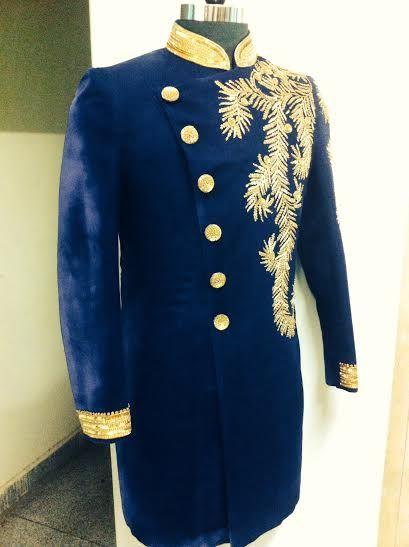 blue velvet sherani by SAGAR TENALI