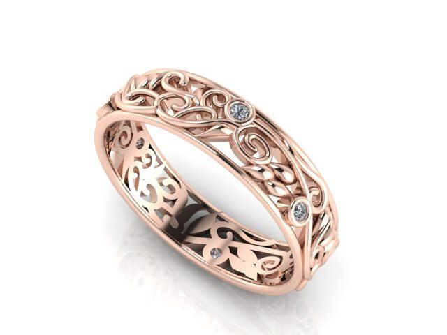 Rose Gold Diamond Band, Bridal Eternity Band, Vine and leaves Wedding Band, Natural Diamonds Bridal band, feminine eternity band by BridalRings on Etsy https://www.etsy.com/listing/219904992/rose-gold-diamond-band-bridal-eternity