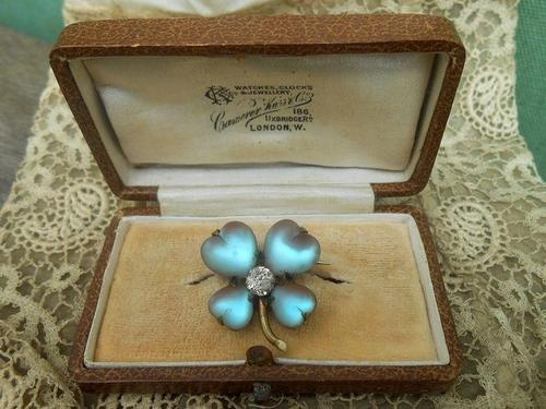 Antique c1900 Edwardian Saphiret Glass Lucky Shamrock Brooch Lace Pin   eBay