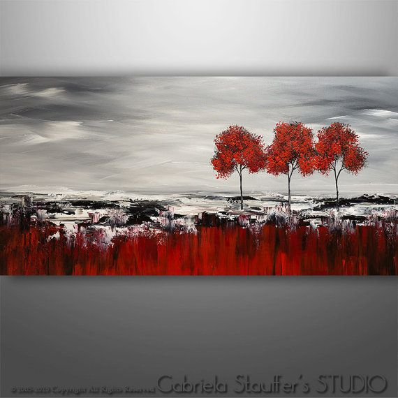 Abstract Painting, Original Painting Wall Art, Landscape Painting, Tree Painting, Palette Knife, Black White red painting, Wall Decor,