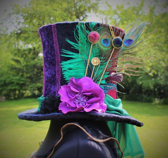Handgemaakte Mad Hatter hoge hoed. Volledige grootte hoge hoed. Op maat. Op bestelling gemaakt. One Of A Kind. Wonderland kostuum. Fancy Dress.