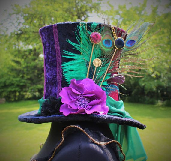 Hand Made Mad Hatter Top Hat. Full Size Top Hat. Bespoke. Made To Order. One Of A Kind. Wonderland Costume. Fancy Dress.