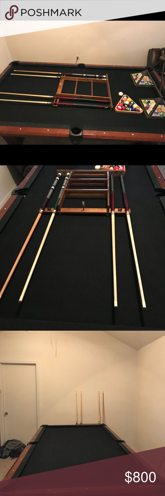 Industrial Size Pool Table 4 pool sticks, 1 pool stick stand, triangle, and 1 billiard lamp shade Other