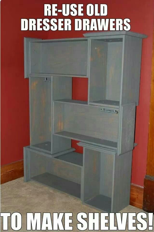 Turning Old Dresser Drawers Into Shelves Diy Cool Ideas