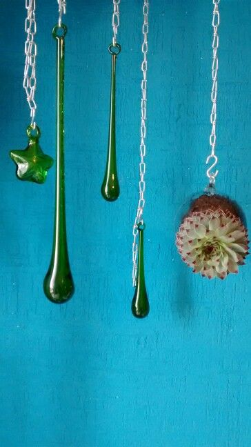 Gotas vidrio soplado blown glass green drops