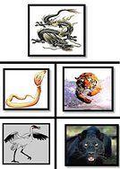 Les quadrants du logo des 5 formes animales Shaolin. L'autodéfense psychoverbale ou Aiki psychoverbale est issue de la forme de la Grue.