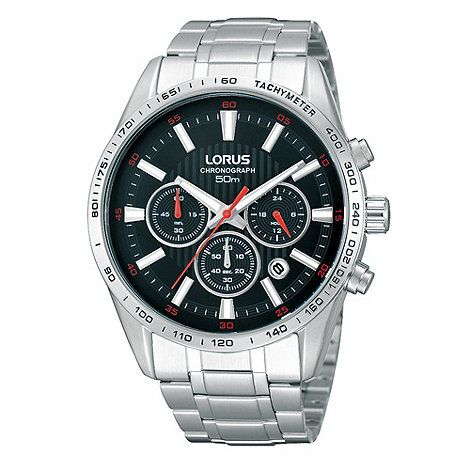 Lorus Men's Black Chronograph Dial Bracelet Watch- at Debenhams.com