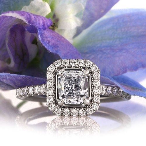 Women's #Fashion #Jewelry: Diamonds and Gemstones:  Mark Broumand 1.57ct Fancy Light #Blue Radiant Cut Diamond Engagement #Ring: Mark Broumand: Rings