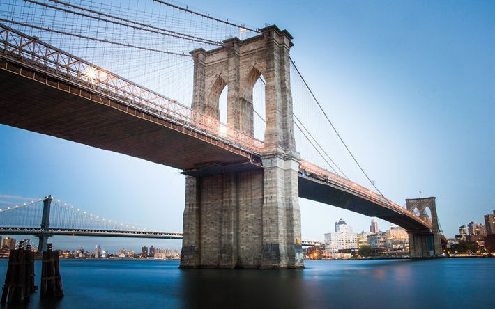 Download wallpapers 4k, Brooklyn Bridge, NYC, evening, New York, America, USA