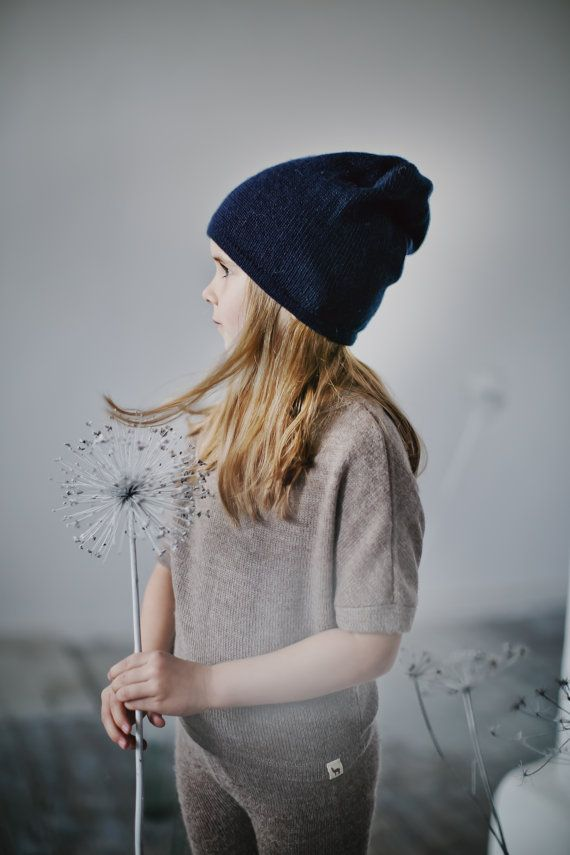 READY TO SHIP Kids navy hat / baby / children / toddler 2-4 Y / alpaca wool slouchy beanie / over-sized gray hat /  knit unisex hat
