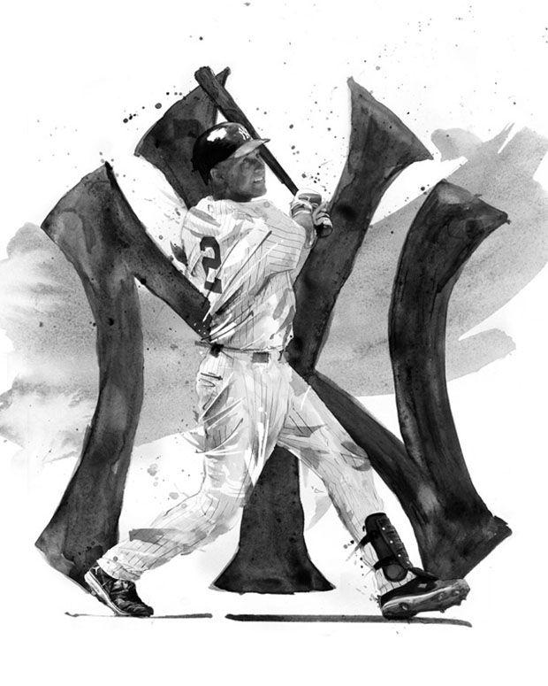 Rare Ink Derek Jeter and Jordan Cleat Art