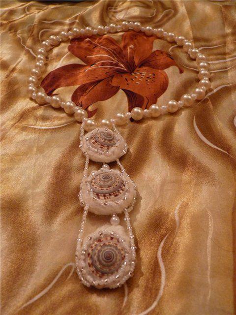 Красивые бусины для колье из ракушек и шерсти - Ярмарка Мастеров - ручная работа, handmade