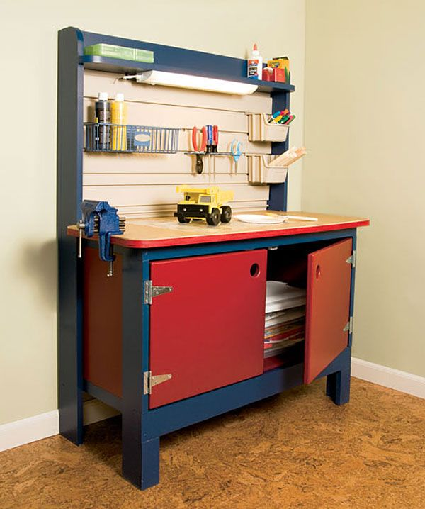 If you know a kid who's bursting with inventive ideas, this workbench project is the perfect gift. This is a real workbench, designed to withstand all of the challenges that a kid can pose. You can build one in a weekend.