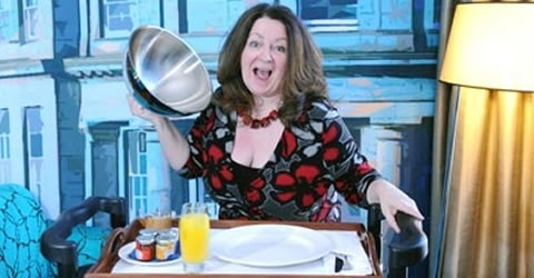 http://www.letssmiletoday.com/news/hotel-offers-comedian-on-room-service  An award-winning Scottish comedian is to go on the room service menu at a new hotel in Edinburgh.    Guests of the Hotel Indigo will be able to order a 10 minute show from Janey Godley along with their food and drink from April 19 to 21.