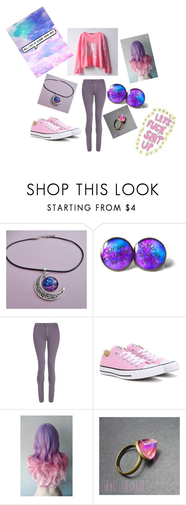 Pastel goth by whitenoiseiswatching on Polyvore featuring dVb Victoria Beckham and Converse