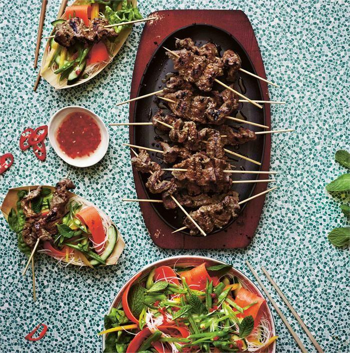 bLemongrass beef skewers with Vietnamese noodle salad beefandlamb.com.au