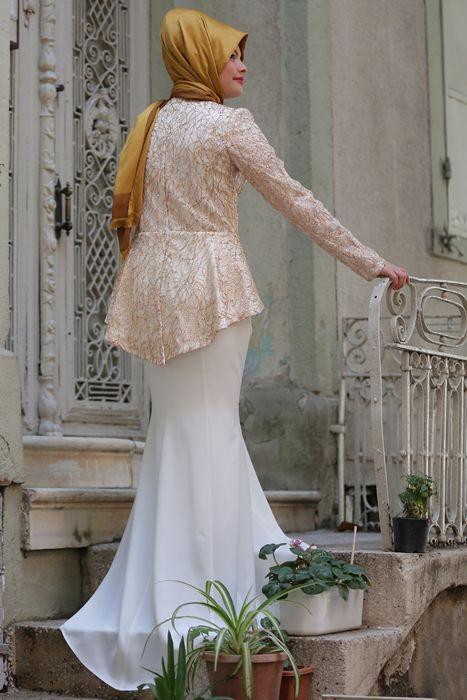 Azra Özer Beyaz Gold Peplum Abiye Elbise