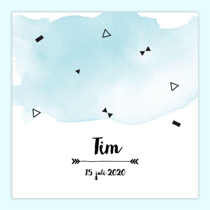 Blauwe watercolour op een geboortekaartje voor een jongen. Wat vind jij van dit kaartje?