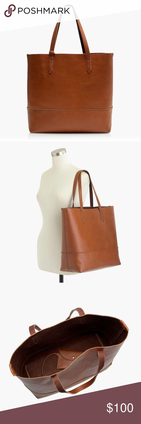 """🆕 J.Crew Leather Downing Tote in English Saddle Gorgeous soft leather tote from J.Crew! Open interior that is perfect for a carry on bag or to hold all your essentials on the way to work! Big enough to carry a 13"""" laptop. Unstructured style. Straps are long enough to carry over your shoulder. Stock photos from J.Crew shown. Tote for sale was purchased in store and has NEVER BEEN USED. Tote for sale does NOT have a monogram on it - the fourth picture is for scale. MORE PICTURES COMING SOON…"""