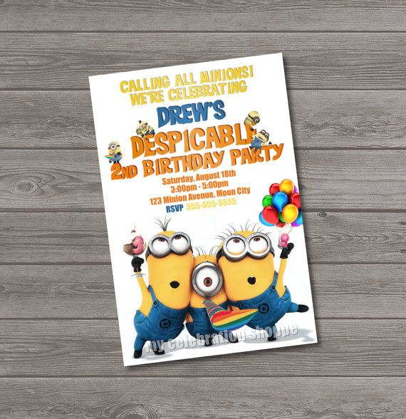 Despicable Me Invitations  Despicable Me by MyCelebrationShoppe, $10.00
