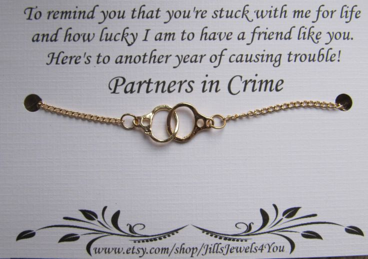Best friend Handcuff Partners in Crime Bracelet - Friendship Bracelet - Best friend bracelet - BFF gift - Best Friend gift - Gold Handcuff by JillsJewels4You on Etsy https://www.etsy.com/listing/256801845/best-friend-handcuff-partners-in-crime