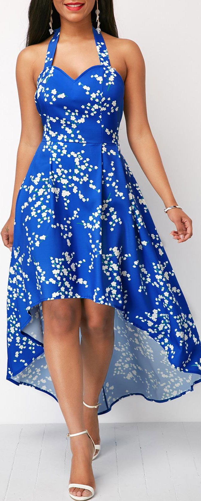 Blue High Low Open Back Printed Dress.