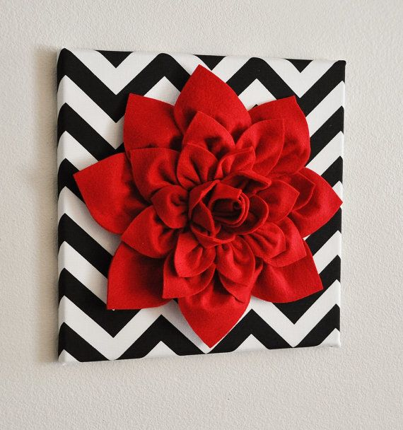 Red Wall Flower Red Dahlia on Black and White Chevron by bedbuggs