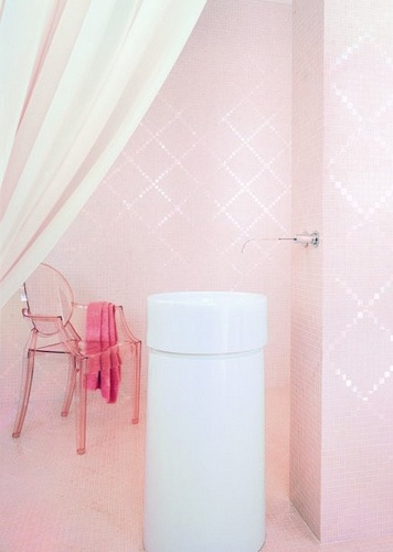 Pink and White Bathroom This Bisazza mosaic tile in pink puts a girlish, innocent touch on any design. Perfect for bathrooms, kitchen, bedroom or floor design, this glass mosaic is peaceful and graceful in any space.