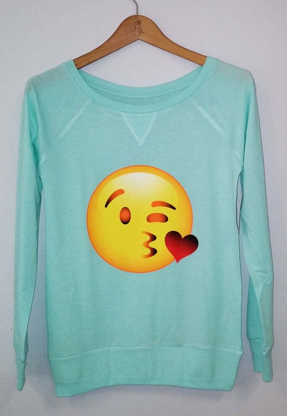 Hey, I found this really awesome Etsy listing at https://www.etsy.com/listing/184045170/long-sleeve-emoji-kiss-women-shirt