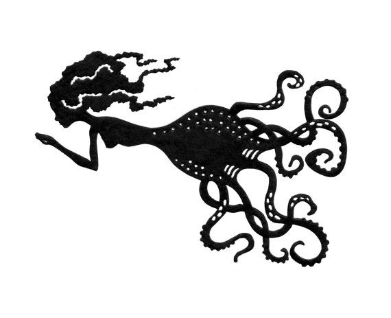 Octopus Lady / Sea Witch Silhouette  Handcut and by CuriousLemon, $20.00