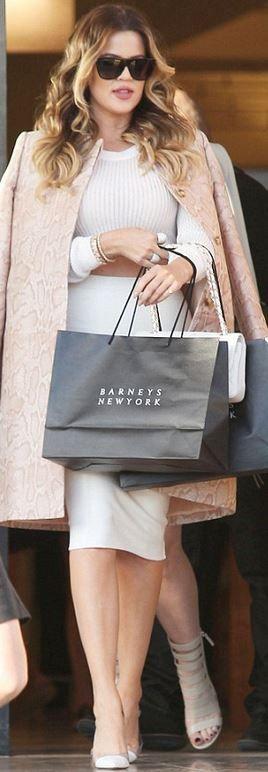 Khloe Kardashian: Shoes – Gianvito Rossi  Bracelet – Anita Ko  Coat – Stella McCartney