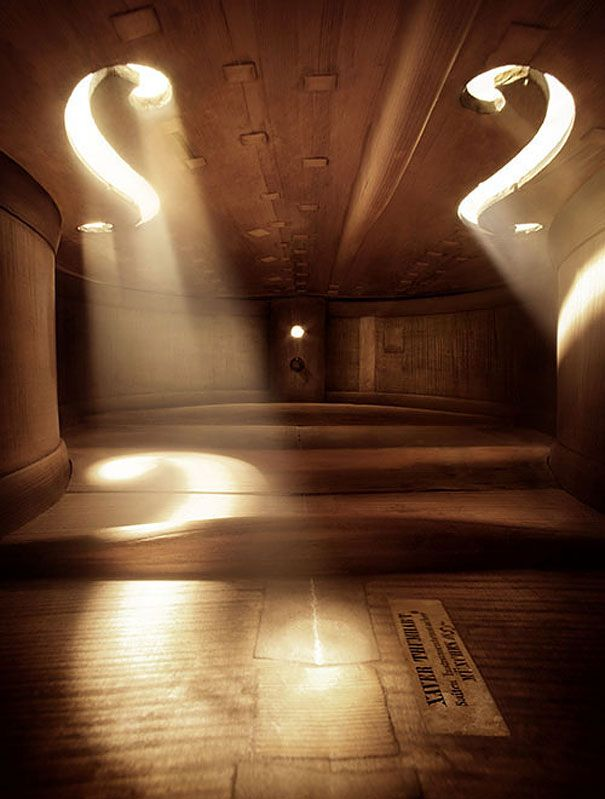 Fully abstracted image; image of inside a musical instrument; positive and negative space create complexity and curiosity about spaces in the image and makes viewers to wonder where this place/space is; full abstraction makes it difficults for viewers to convey the image