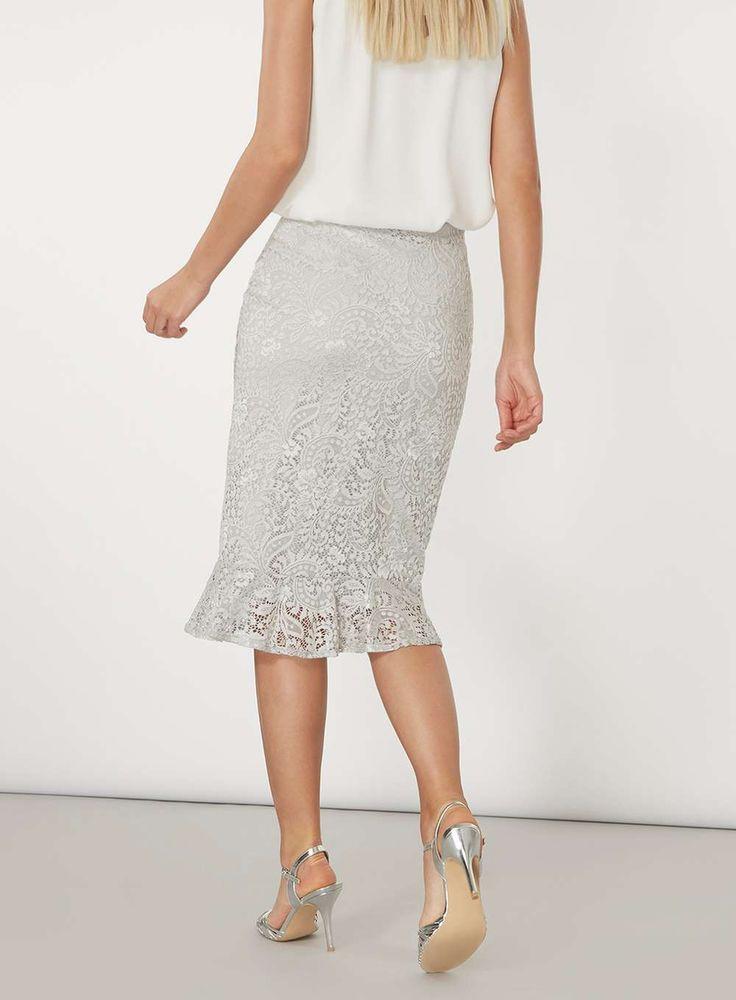 Womens Grey Lace Peplum Skirt- Grey