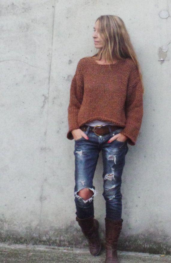 Suéter marrón cobre marrón suéter cómodo Brown cómodo por ileaiye