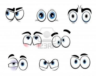 Conjunto de ojos divertidos dibujos animados para diseño de comics Foto de archivo