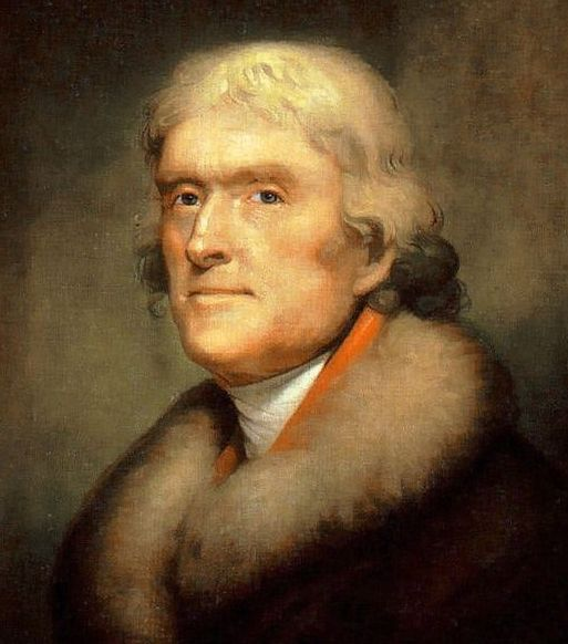 """Portrait of Thomas Jefferson by Rembrandt Peale, 1805. Source: New York Historical Society; Wikimedia Commons. Read more on the GenealogyBank blog: """"What Were the Real Last Words of These U.S. Presidents?"""" http://blog.genealogybank.com/what-were-the-real-last-words-of-these-u-s-presidents.html"""