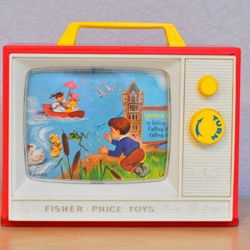 TV music box Fisher Price 1964  - Pauline et paulette la boutique vintage : www.paulineetpaulette.Fr
