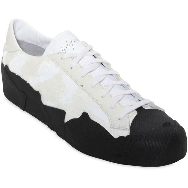 YOHJI YAMAMOTO PAINTED CANVAS & LEATHER SNEAKERS NTuGt3afjO