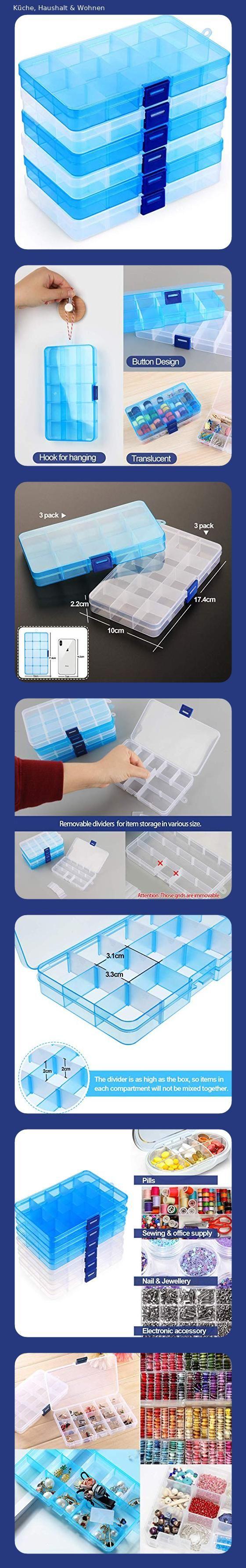 Ilauke Facher Aufbewahrungsbox Klar Sortierboxen Plastik