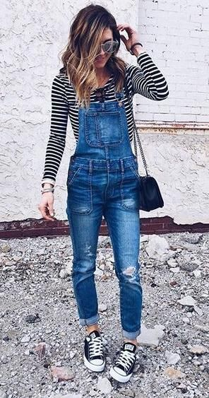 stripes, overalls and converse