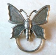 Vintage Silver Tone Butterfly Scarf Clip.