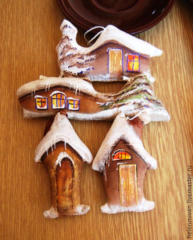 Купить Кофейные домики. 4 шт. - бежевый, текстильные домики, кофейные домики, интерьерные домики