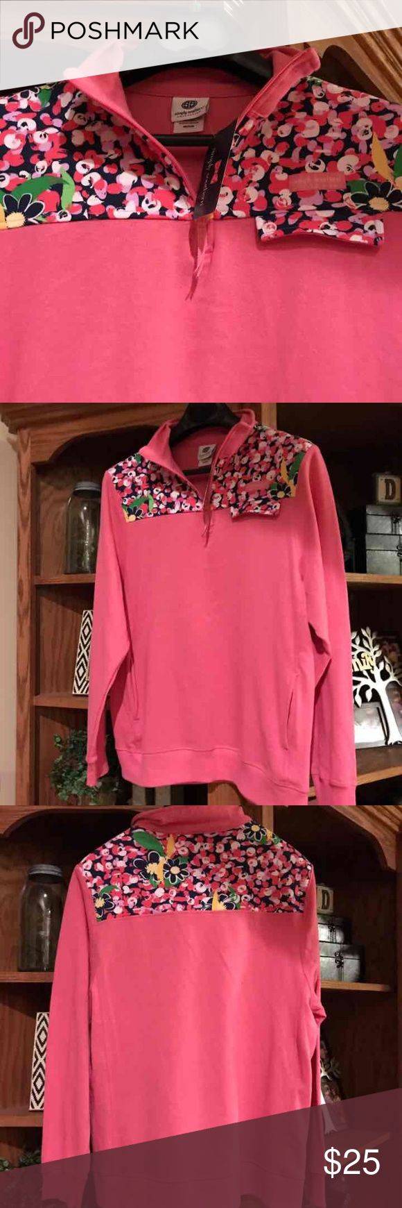 NWT Simply southern pullover--Strawberry daisy NWT Simply Southern quarter zip pullover. Cute contrasting pattern. Brand new!! Never worn!! Super cute and must have for cool summer nights. Simply Southern Tops Sweatshirts & Hoodies