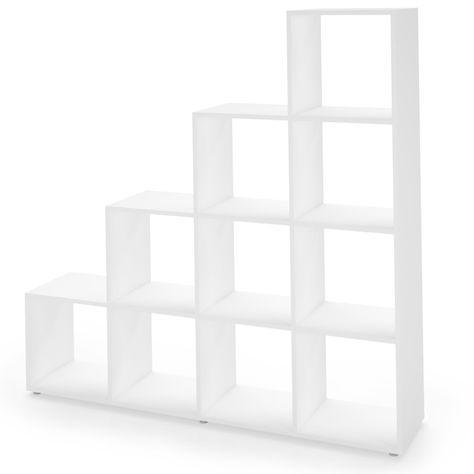 ARTIKELMERKMALE    Praktisches und dekoratives Treppenregal mit 10 geräumigen Fächern in der Ausführung Weiß.   Dieses Regal kann für jeden Wohnbereich eingesetzt werden und auch als Raumteiler dienen.   Es kann schön dekoriert werden und schafft eine wohnliche Atmosphäre