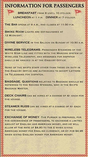 White Star Line information for Titanic passengers - very entertained that church service was in the saloon!