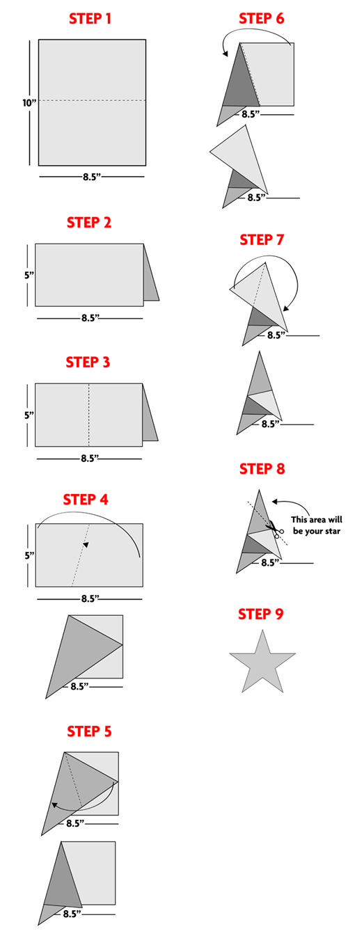 How to fold and cut a 5-point star    betsy-ross-star5.jpg (500×1358)
