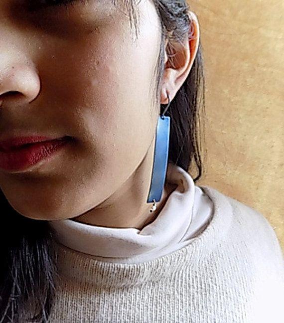 titanium earringsblue earringslight earringslong by atermono