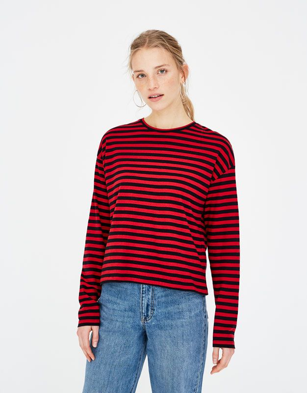 Pull Bear striped top black red camiseta manga larga rayas rojo negro 2044337c82c0f