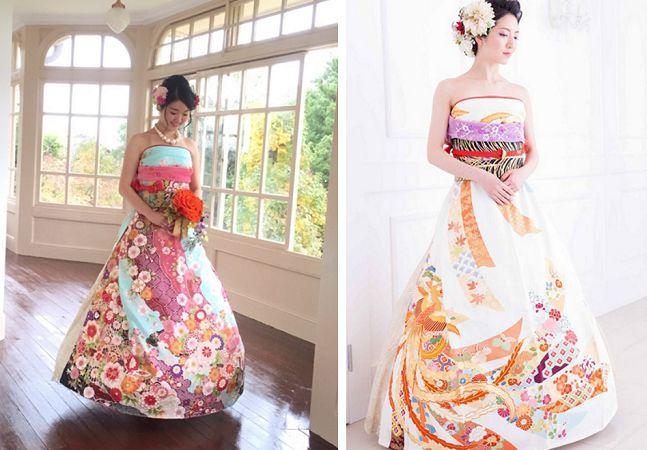 Os casamentos no Japão estão se tornando conhecidos por mesclar elementos da cultura ociental com a oriental. E, embora os quimonos produzidos no país sejam lindos, muitas mulheres estão optando por colocar um toque de seu estilo pessoal na roupa, transformando-os em vestidos incríveis para usar na festa de casamento. A ideia faz todo o sentido: o quimono furisode é um tipo de roupa bastante formal que as mulheres japonesas costumam ganhar dos pais geralmente quando fazem 20 anos.