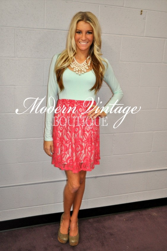 Modern vintage boutique sweet pea lace dress coral 49 00 http